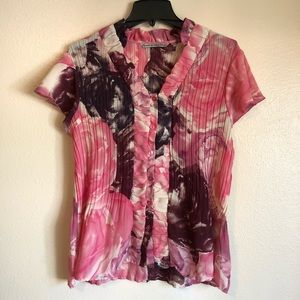 Signature by Larry Levine SZ M/L Short Sleeve Top